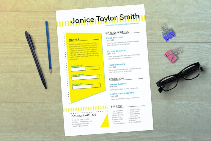 Thumbnail for InDesign Resume Template (Retro)