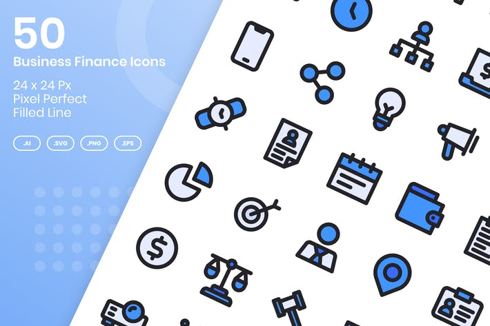 Thumbnail for 50 Business Finance Icons Set - Filled Line