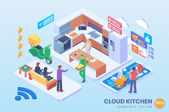 Thumbnail for Isometric Cloud Kitchen Vector Concept