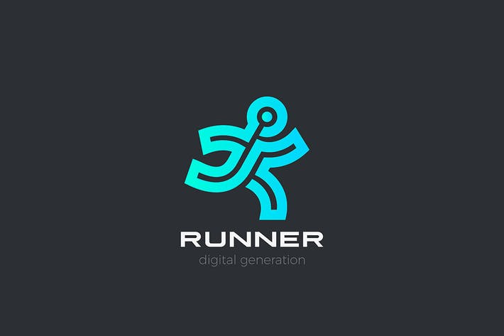 Thumbnail for Running Man Sport Logo Delivery Linear Outline
