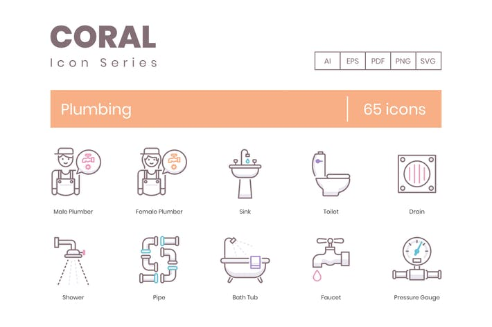 Thumbnail for 65 Plumbing Line Icons