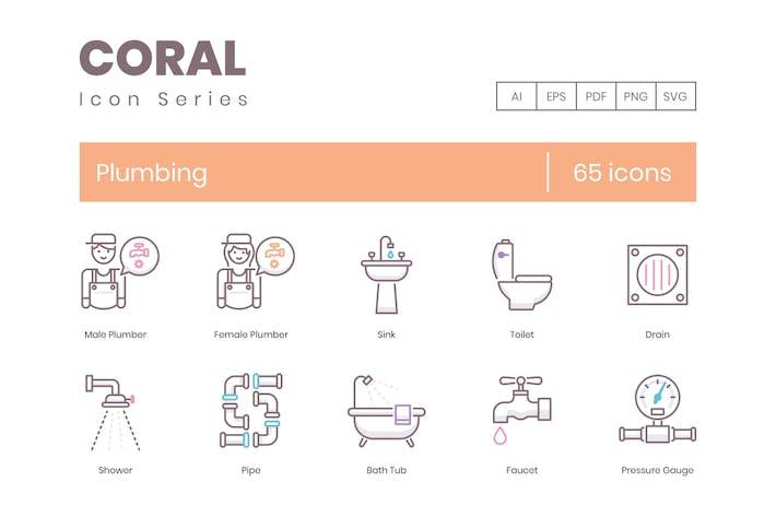 65 Sanitärlinien-Icons