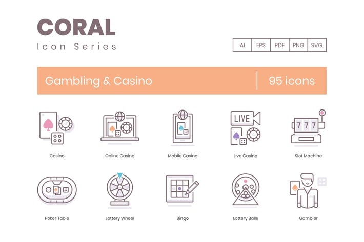 95 Gambling & Casino Icons | Coral Series