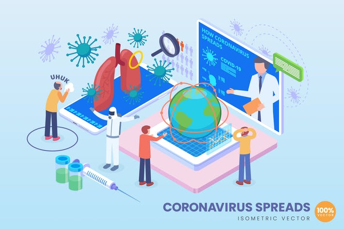 Thumbnail for Isometric Coronavirus Spreads Vector Concept