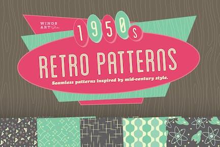 1950s Retro Seamless Patterns