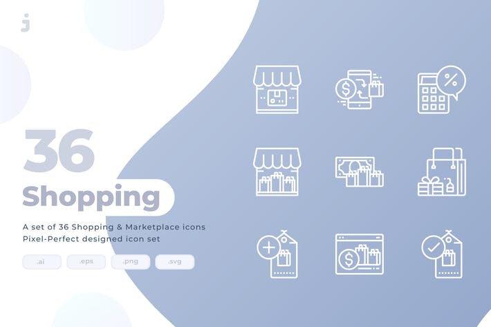 Thumbnail for 36 Shopping and Marketplace Icons