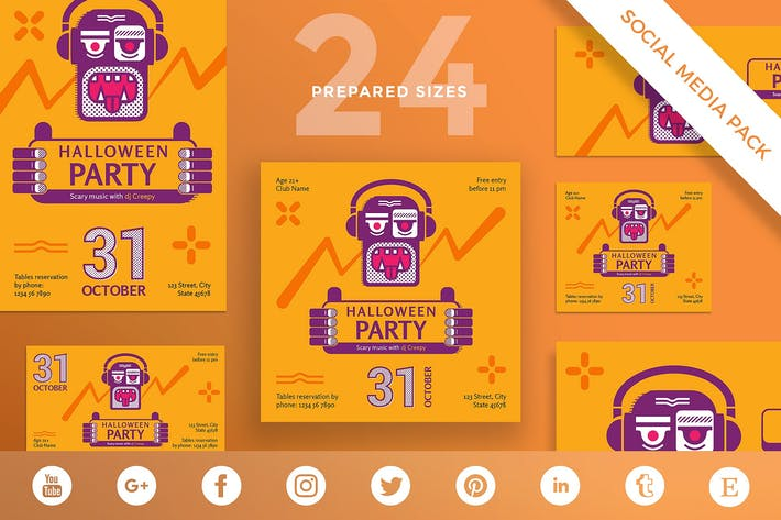 Thumbnail for Halloween Party Social Media Pack Template