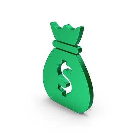 Symbol Money Bag Green Metallic