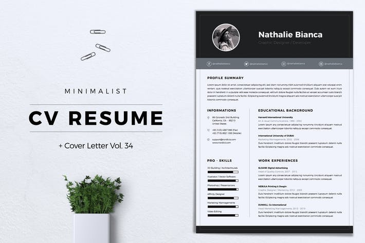 Thumbnail for Minimalist CV Resume Vol. 34