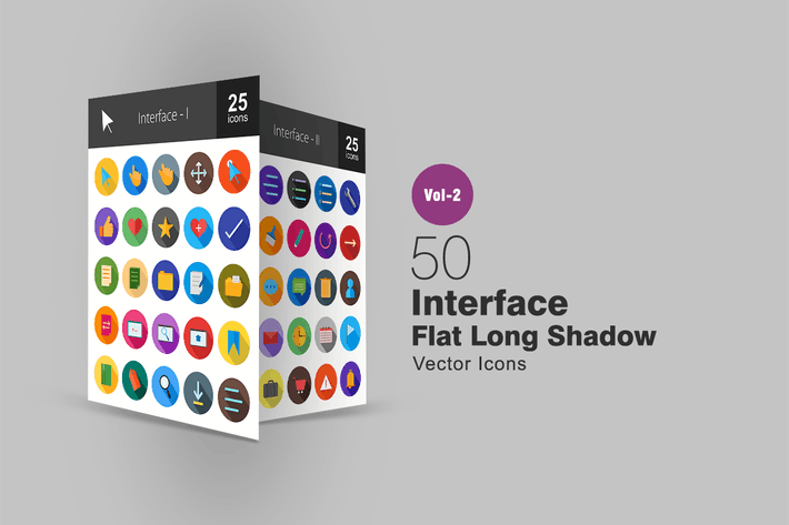 Thumbnail for 50 Interface Flat Long Shadow Icons