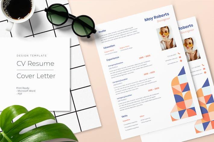 Thumbnail for May Roberts - CV Resume Template