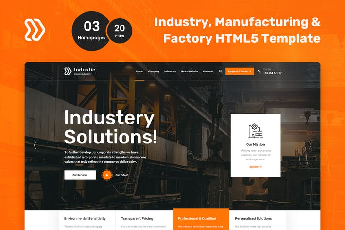 Thumbnail for Industic Factory and Manufacturing HTML5 Template