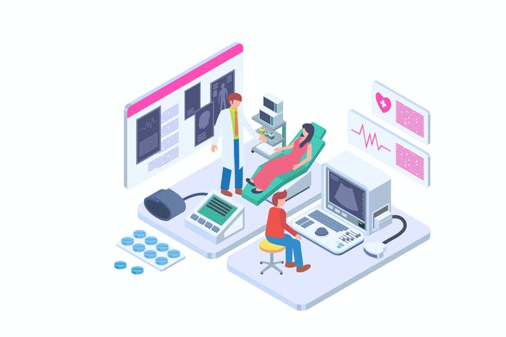 Thumbnail for Gynecologist Pregnancy Check Isometric Vector