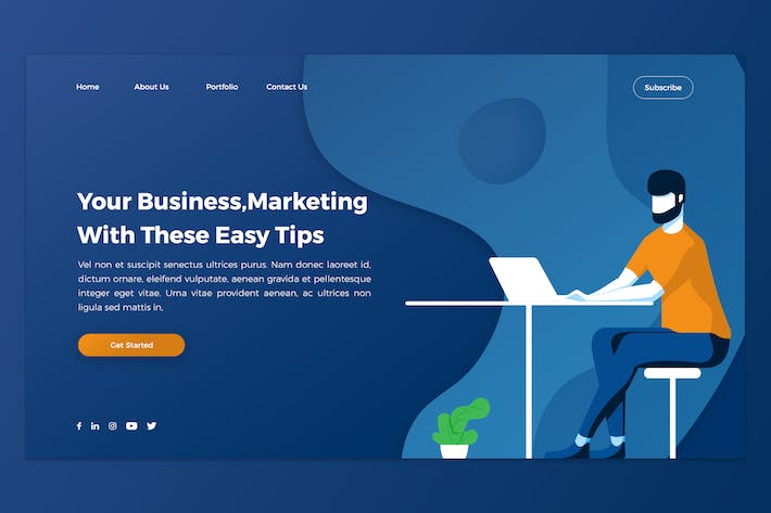 Thumbnail for Marketing & Business Hero Header PSD