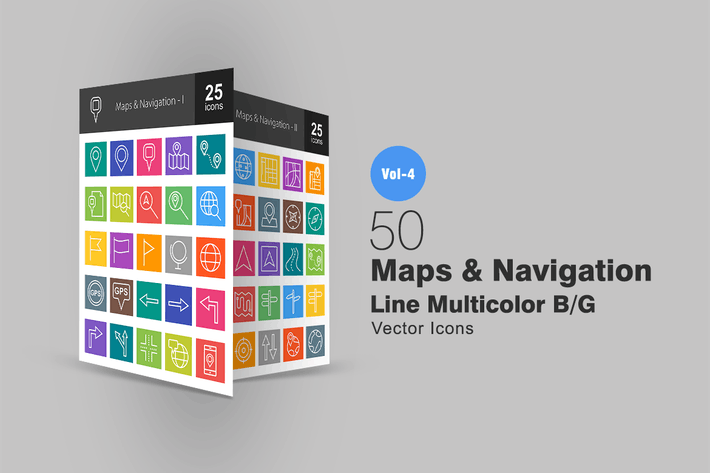 Thumbnail for 50 Maps & Navigation Line Multicolor Icons