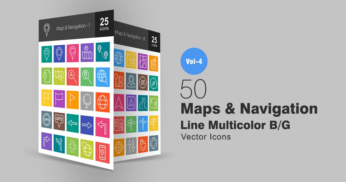 Download 50 Maps & Navigation Line Multicolor Icons by IconBunny