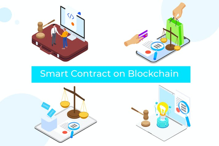 Thumbnail for Smart Contract on Blockchain Isometric 3  - TU