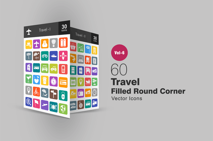 Thumbnail for 60 Travel Filled Round Corner Icons