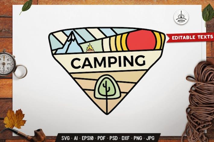 Thumbnail for Camping Badge Line Art Emblem Graphics Modern Logo