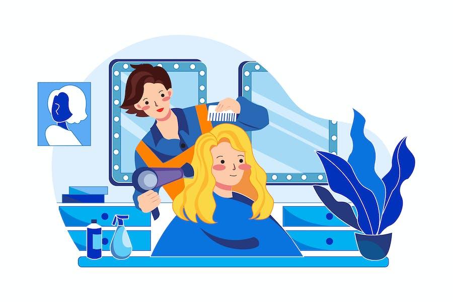 Female hair stylist styling customer's hair