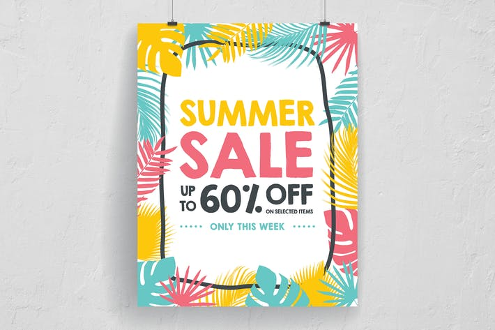 Cover Image For Palm Leaves Summer Sale Poster And Flyer