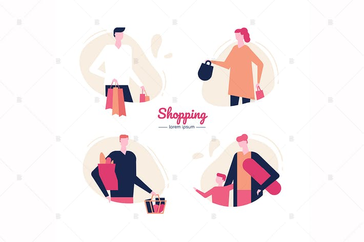 Thumbnail for Shopping - design plat caractères Vecteur ensemble