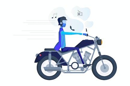 Smart Hat for Motorcyclist Illustration