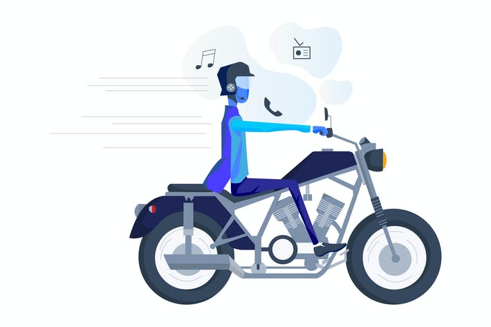 Thumbnail for Smart Hat for Motorcyclist Illustration