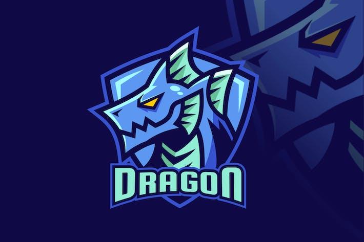 Water Element Dragon Fantasy Logo Design
