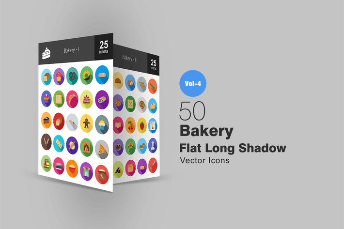 Thumbnail for 50 Bakery Flat Shadowed Icons