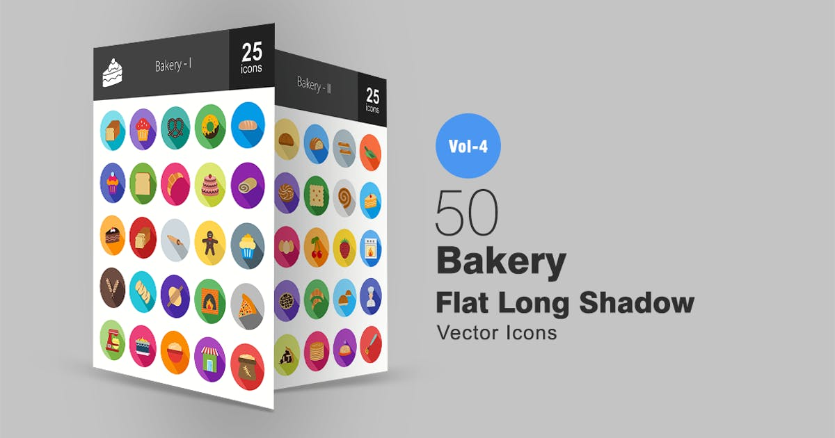 Download 50 Bakery Flat Shadowed Icons by IconBunny