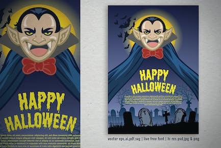 vector illustration of halloween with cute vampire