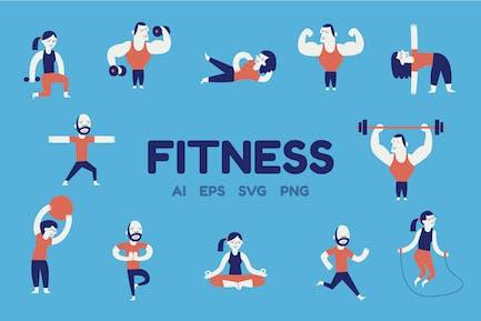 Фитнес-персонажи - Вектор иллюстрация