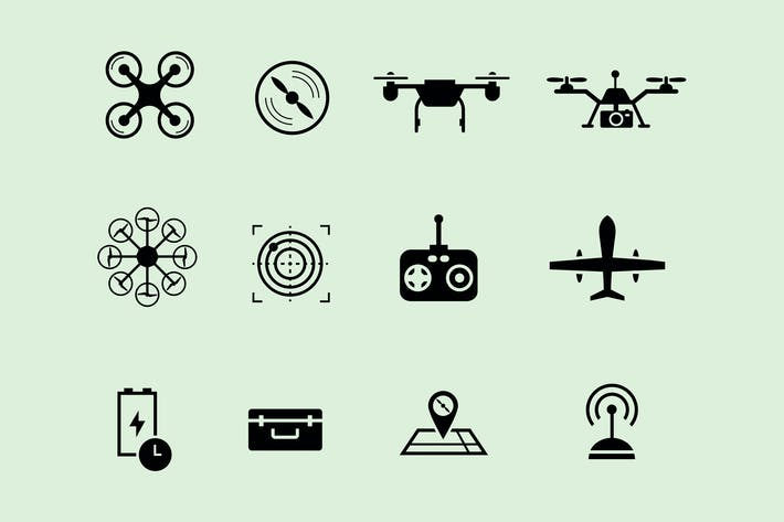 Thumbnail for 12 Drone Icons