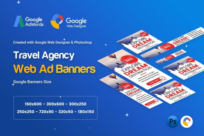 Thumbnail for Travel Agency Banner Ad - GWD & PSD