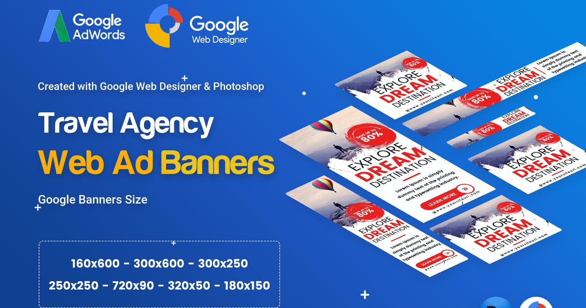Download Travel Agency Banner Ad - GWD & PSD by iDoodle