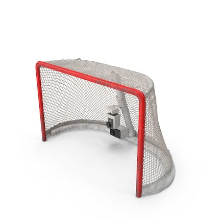Ice Hockey Goal With Puck Ripping Net