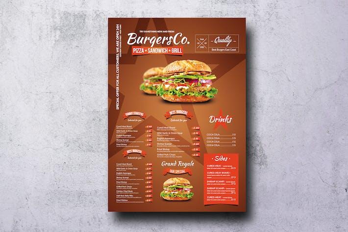 Thumbnail for American Burgers A3 Poster Menu