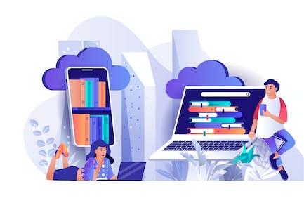 Flache Webillustration der Cloud Library