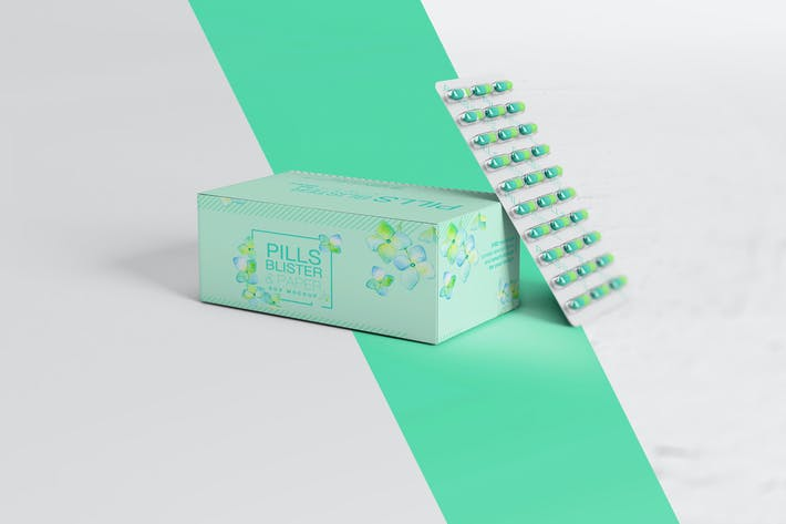 Cover Image For Pills Blister/ Paper Box Mockup