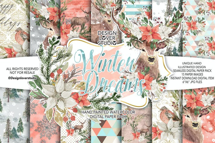 Thumbnail for Winter Dreams digital paper pack