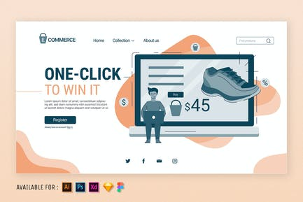 One Click to Shopping  - Web Illustration