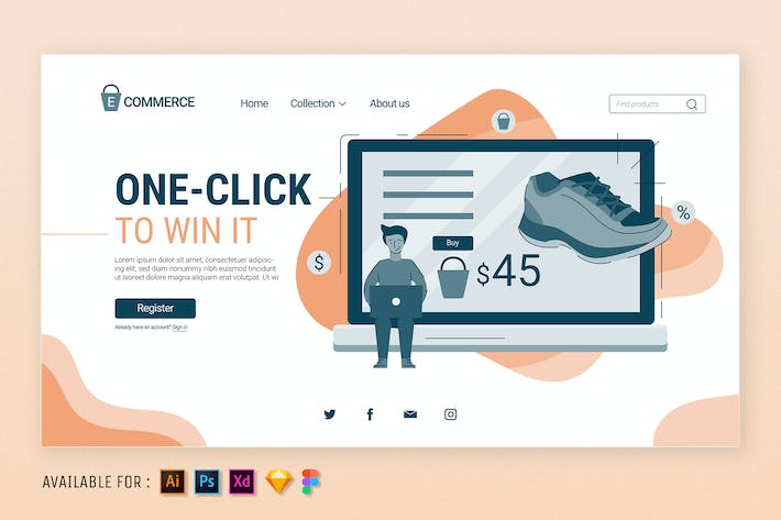 Thumbnail for One Click to Shopping  - Web Illustration