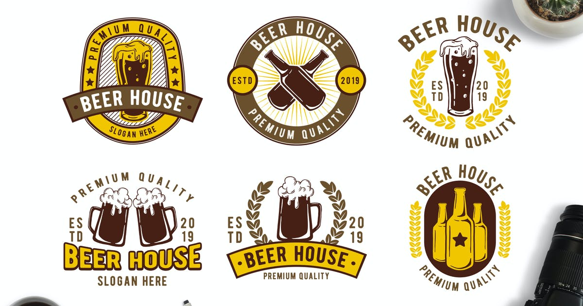 Download Retro Style Beer Themed Badge Logos by Suhandi