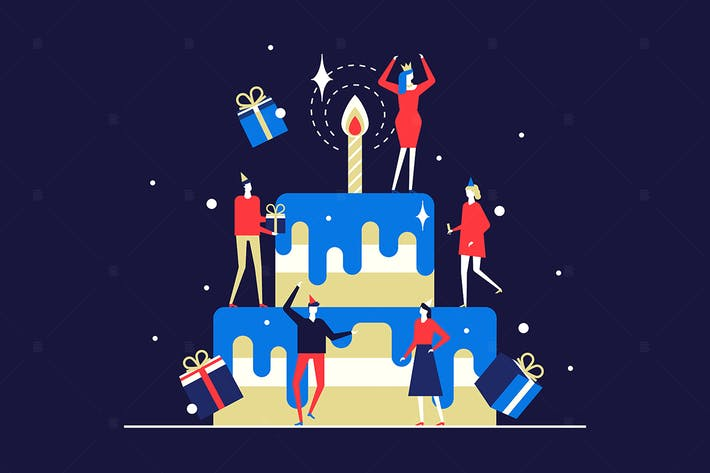 Thumbnail for Happy birthday party - flat design illustration