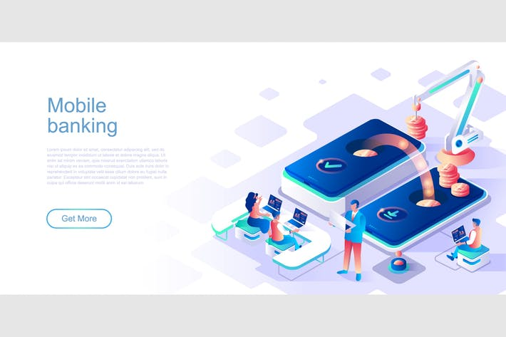 Thumbnail for Mobile Banking Isometric Flat Concept Header