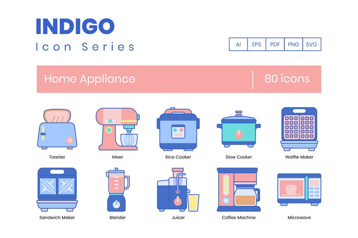 Thumbnail for 80 Home Appliance Icons | Indigo Series