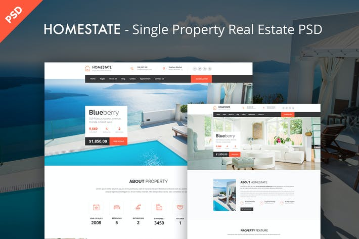 Thumbnail for HOMESTATE - Single Property Real Estate PSD Templa