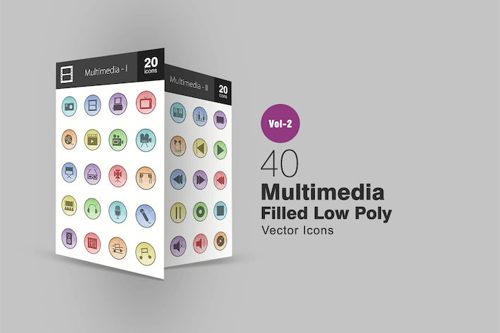 Thumbnail for 40 Multimedia Filled Low Poly Icons