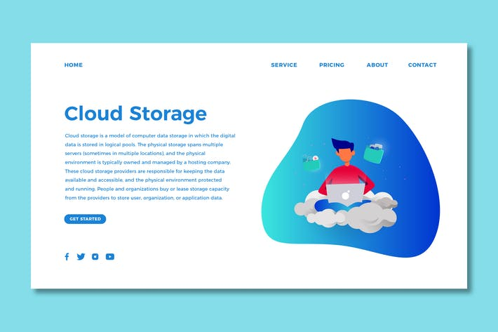 Thumbnail for Cloud Storage - Landing Page Template